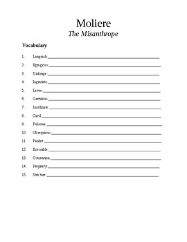 Moliere The Misanthrope Vocabulary