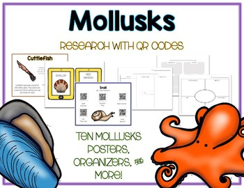 Mollusks - Animal Research w QR Codes, Posters, Organizer - 14 Pack