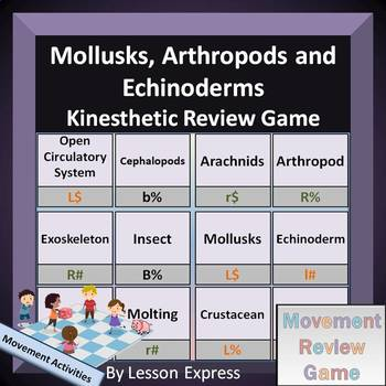 Mollusks, Arthropods and Echinoderms Terminology Review Game