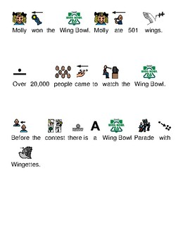 Molly Wins 2018 Wing Bowl - Picture supported text lesson questions review