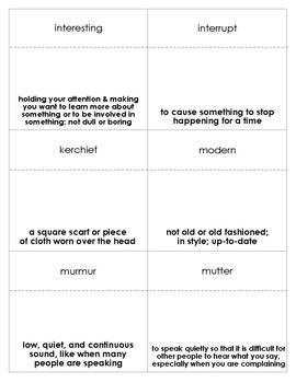 Molly's Pilgrim Vocabulary Bingo