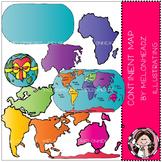 World continent map clip art - COMBO PACK- by Melonheadz