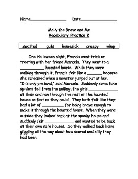 Molly the Brave and Me Vocab list, practices and test