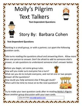 Molly's Pilgrim Text Talkers - Text Dependent Questions