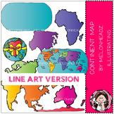 World continent map clip art - LINE ART- by Melonheadz