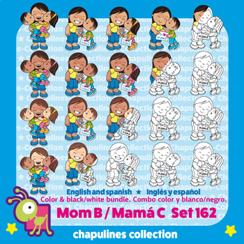 Mom Clipart Bundle, Color and black / white, Mother's day, Set 162