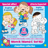 Mom Clipart Bundle, Color and black / white, Mother's day,