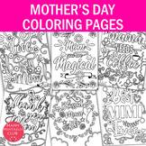 Mom Coloring Pages- Mother's Day Coloring Pages- Set of 6