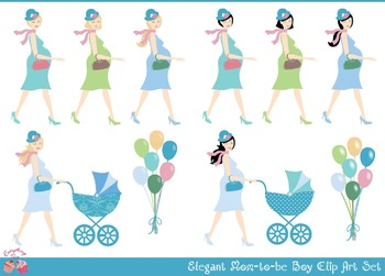 Mom Mommy to be Boy Clipart Set