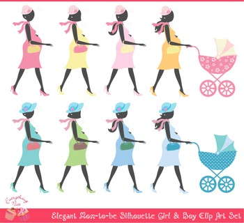 Mom Mommy to be Silhouettes Clipart Set