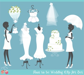 Mom Mommy to be Bride Bridal Wedding Clipart Set