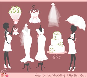 Mom Mommy to be Bride Bridal Wedding Pink Girl Clipart Set