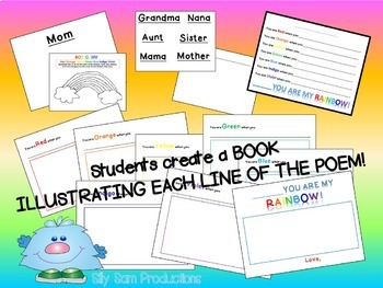 Mother's Day Card and Book Poem Activity Mom, You are my RAINBOW!