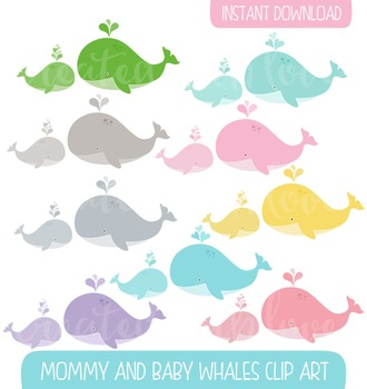 Mom and baby whale clip art