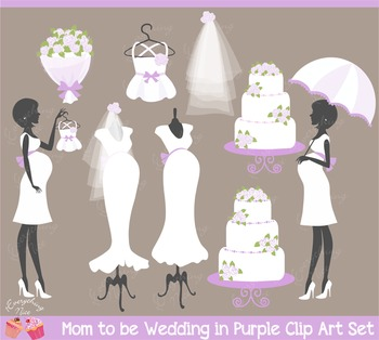 Mom to be Wedding, Baby Girl Shower in Purple Lavender Clip Art Set