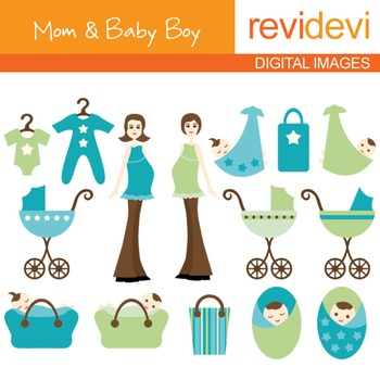 Mom to be and Baby Boy Clip art