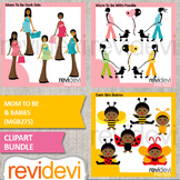 Mom to be and babies clip art bundle