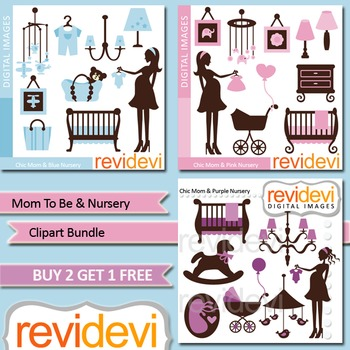Mom to be and nursery clip art bundle (3 packs) pink, blue, purple