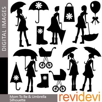 Mom to be and umbrella silhouette clip art (maternity, pre
