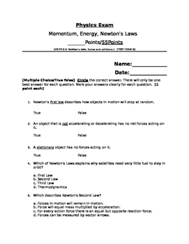 Momentum, Energy, Newton's Laws Exam