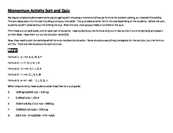 Momentum And Impulse Formula Sort Physics By Dunigan Science Tpt