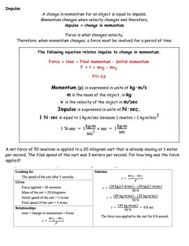 Momentum/Conservation of, Impulse, Work, Inelastic/Elastic Notesheet & Wkshts