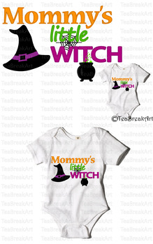 Mommy's little Witch Text Art Monogram Digital ClipArt Cut