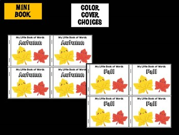 Momo's Minibook : Fall Autumn, Mini book and Word Wall Card Set, Writing Center