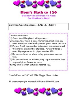 Mom's Math to 120 - Mother's Day Math Game