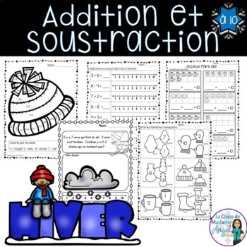 Hiver:  Math Printables in French (addition and subtraction within 10)