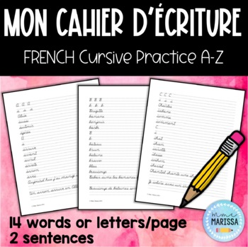 Cursive Handwriting French Worksheets Teaching Resources Tpt