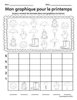 Mon graphique pour le printemps (Spring Graphing) -- French Math Activity