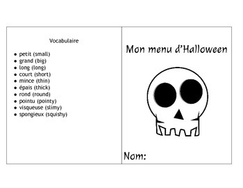 French Immersion Halloween Food Guessing Game