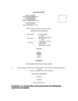 Mon resume francais / French CV / Applying for jobs / Part-time jobs