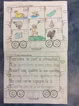 Mon train du C - FRENCH - Phonic Student Work Booklet - Grade 1