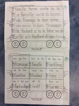 Mon train du F - FRENCH - Phonic Student Work Booklet - Grade 1