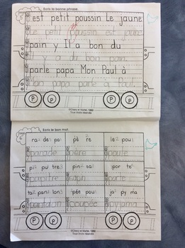 Mon train du P - FRENCH - Phonic Student Work Booklet - Grade 1