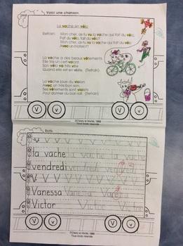 Mon train du V - FRENCH - Phonic Student Work Booklet - Grade 1