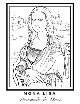 Mona Lisa Coloring Page by MsJess | Teachers Pay Teachers