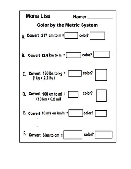 Metric System Color by Number Mona Lisa