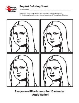 Mona Lisa Pop Art Coloring Sheet for Middle/Elementary