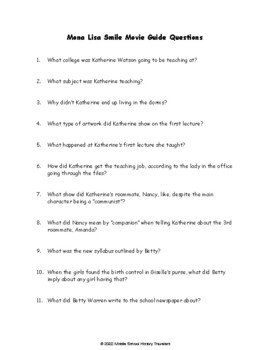 Mona Lisa Smile Movie Guide Questions