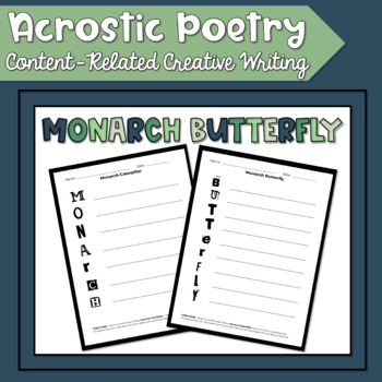 Monarch Butterfly Acrostic Poetry