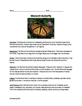 Monarch Butterfly Lesson - Review Article Questions Vocabu