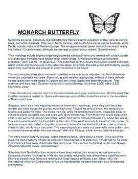 Monarch Butterfly Overview and Coloring Worksheet