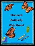 Monarch Butterfly Web Quest (Editable)