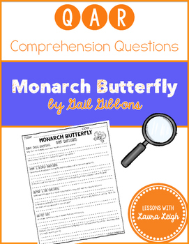 Monarch Butterfly by Gail Gibbons QAR Comprehension Questions with QAR Poster