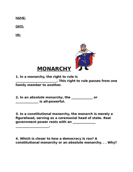 Monarchy Worksheet