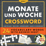 Monate und Woche German Months and Days of the Week Crossword Puzzle