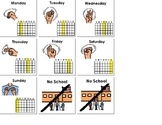 Monday-Friday Calendar Cards with Sign Language